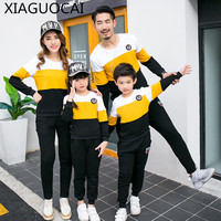 2019 Family Matching Outfits Father Mother Girls Boys Sport Sets 2Pcs Plus cashmere Sweater+trousers sportswear Clothes B81 10