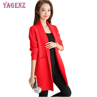 YAGENZ Autumn Winter Women Knitted Sweater Cardigan High Quality Solid Color Long Section Plus Size Womens