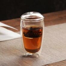 купить Transparent Mug Double Wall Glass Tea Cup Coffee Mugs Clear Glass Cup Tea Drinkware Bottle Lid Creative Travel  Beer Wine Cups по цене 719.7 рублей