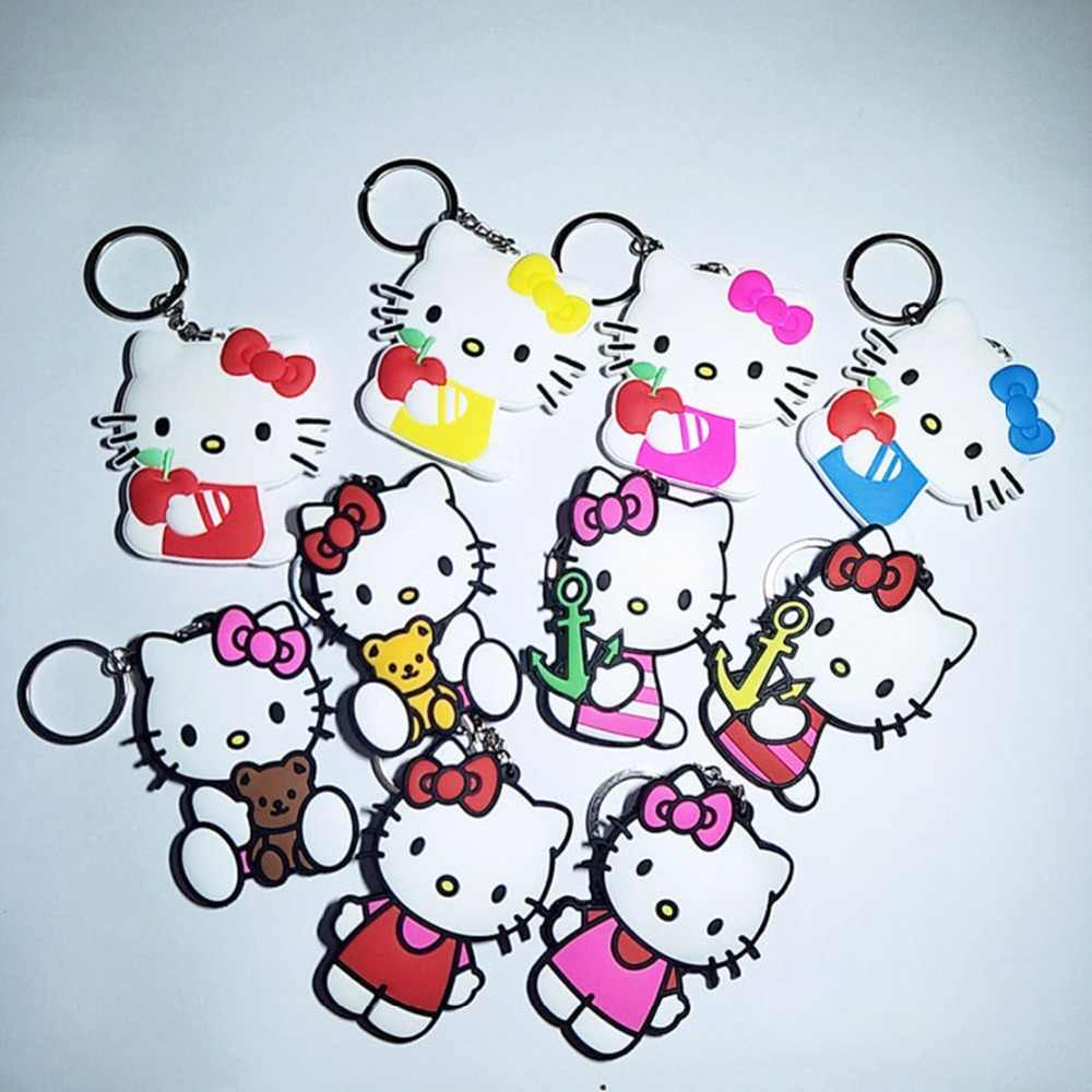 Bonito dos desenhos animados Olá Kitty keychain DO PVC moda engraçado anime gatinho double-sided borracha macia Chaveiro Bag pingente jóias Acessório