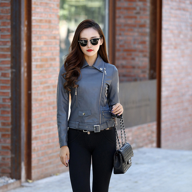 45d1a8b1898e9f 2018 New Autumn Winter Women Motorcycle Faux Leather Jackets Lady Biker PU  Zipper Snakeskin Grain Outerwear Coat with Belt Hot