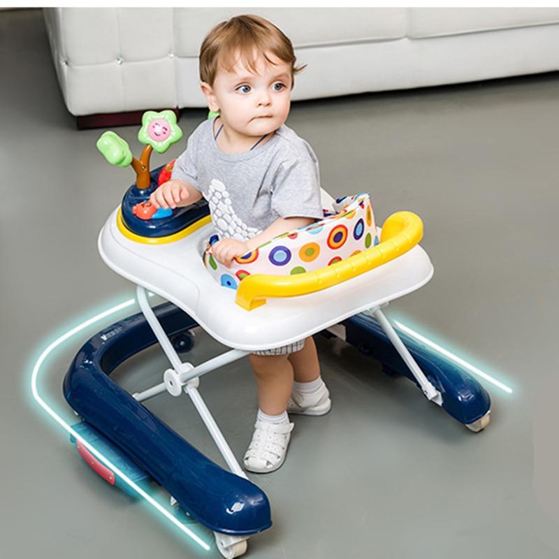 Bébé marcheurs poussette 7-18 mois bébé multifonctionnel enfants temps avec musique cheval à bascule pliable bébé marcheur avec roues