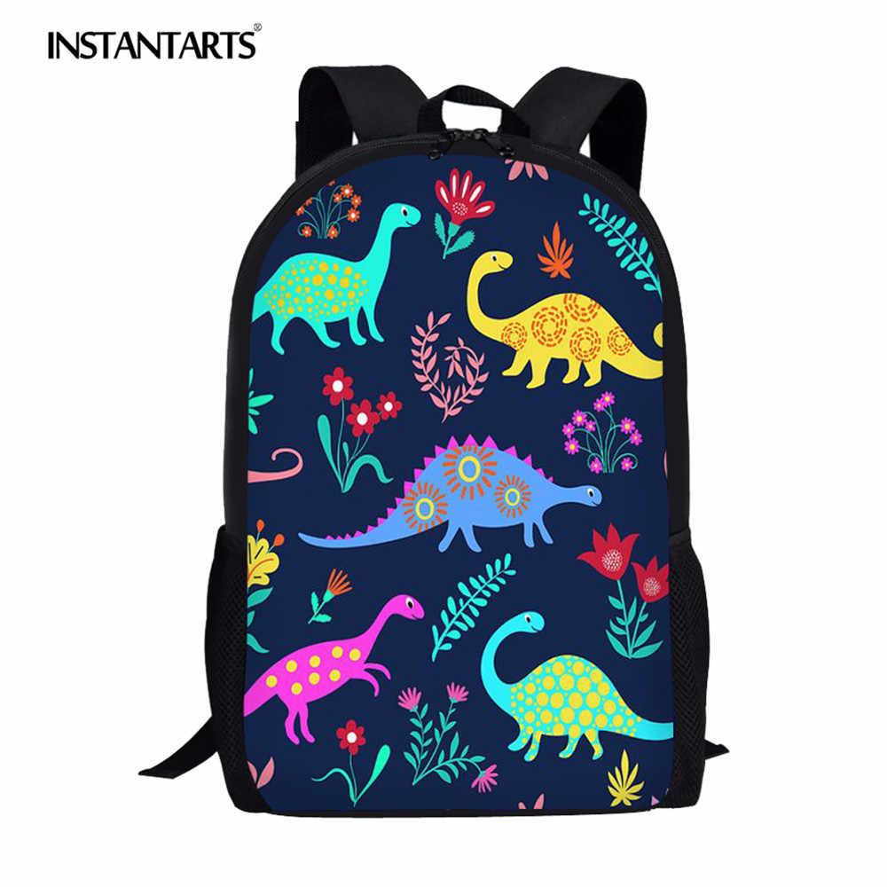 INSTANTARTS لطيف الكرتون ديناصور حقيبة مدرسية s الأطفال على ظهره الفتيان الفتيات مجموعة حقيبة مدرسية 3D دينو الأطفال الكتف حقيبة كتب طفل
