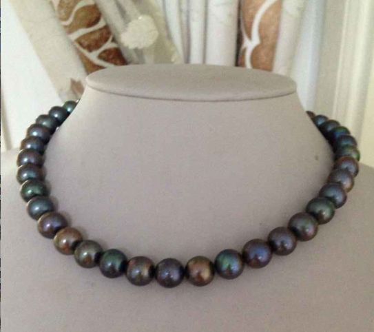 stunning 9-10mm tahitian round black green multicolor pearl necklace 18inch 925 silver a pair of round 9 10mm tahitian peacock green pearl earrings 18