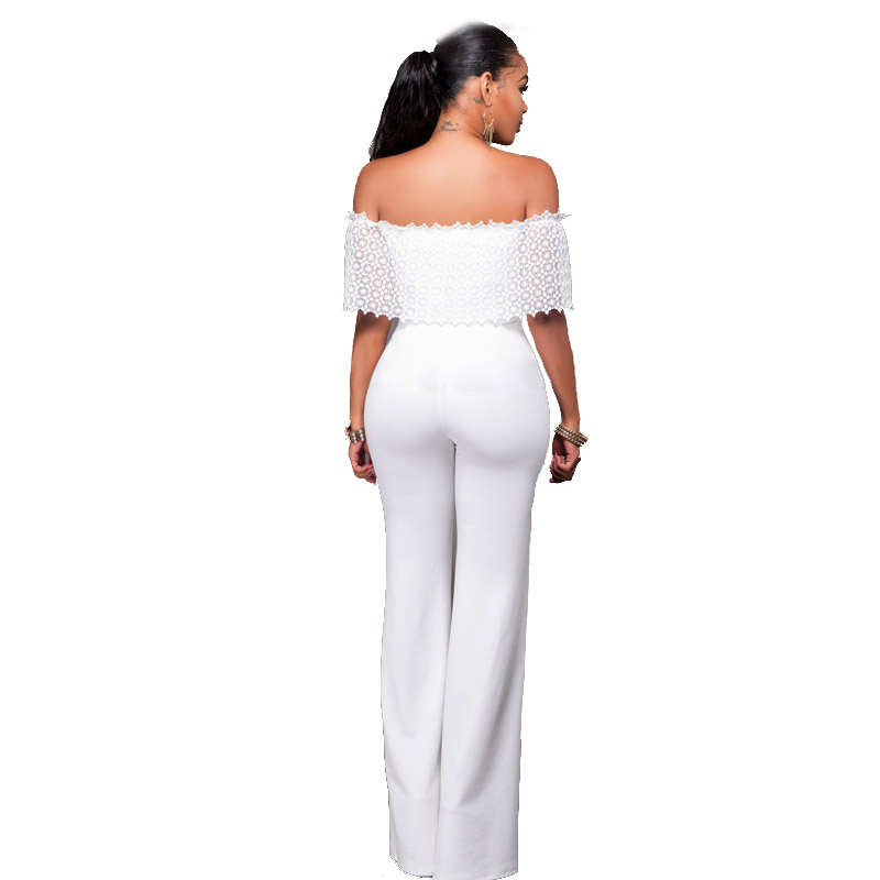 54f3437d46c African Women Clothing Elegant Lace Hollow Out Ruffle Off the Shoulder  Slash Neck White Casual Party Long Pants Romper Jumpsuit