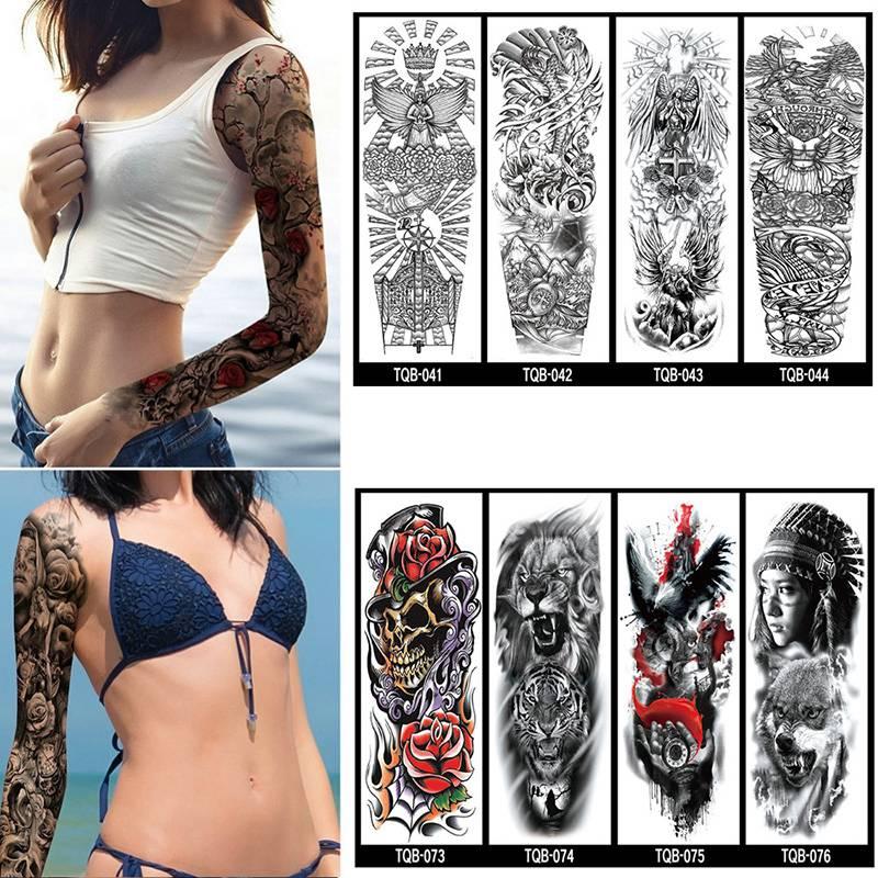 Unisex Waterproof Tattoo Sleeve Arm Large Skull Old School Temporary Tatoo Sleeve Stickers Flash Fake Tattoos For Men Women