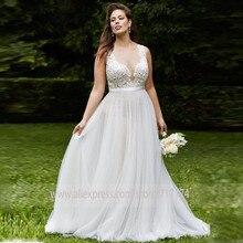 רך סקופ טול מחשוף Applique שרוולים אונליין חתונת שמלה עם חגורה אשליה חזרה כפתור לטאטא רכבת כלה שמלה
