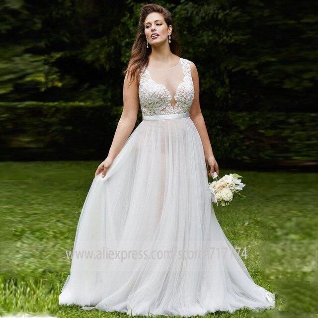 Decote de tule de colher macia applique sem mangas vestido de noiva com uma ilusão de cinto botão traseiro trem varredura vestido de noiva