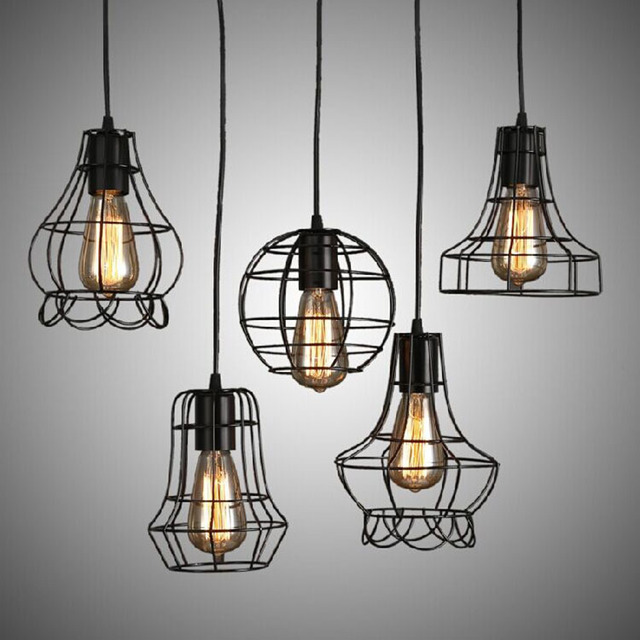 Modern Wrought Iron Bird Cage Pendant Light American Retro Industrial LOFT Bar Lamp Hanging Minimalst Geometric