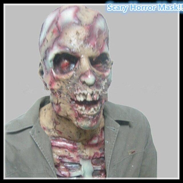 2016 Free Shipping Halloween Cosplay Zombie Mask Skull Full Head & Chest Latex Mask Deluxe Fancy Dress Halloween Demon Free Szie