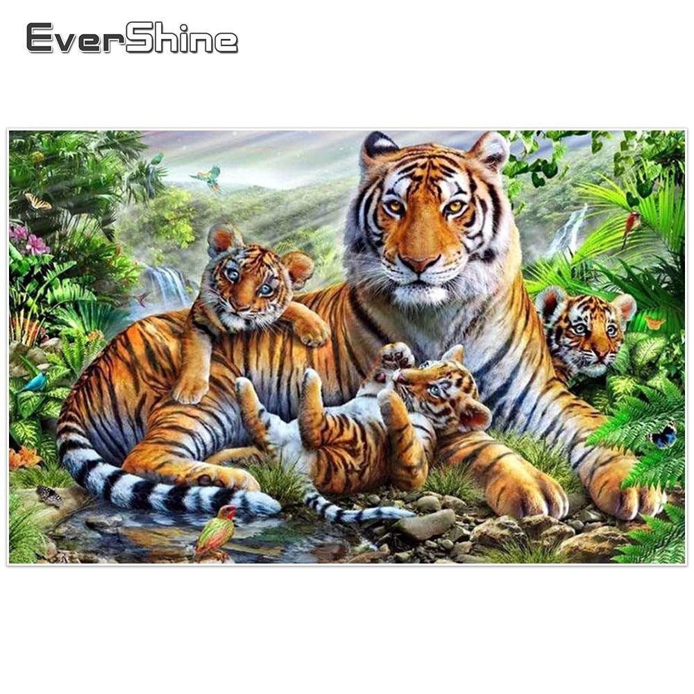 Evershine bricolage diamant mosaïque tigre image de strass diamant broderie animaux diamant peinture point de croix papier peint 5D
