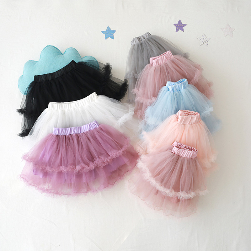 2019 New Girls Gauze Bubble Skirts Pure Color Tutu Skirt Performance Princess Pettiskirts Spring and Summer 3 8Y in Skirts from Mother Kids