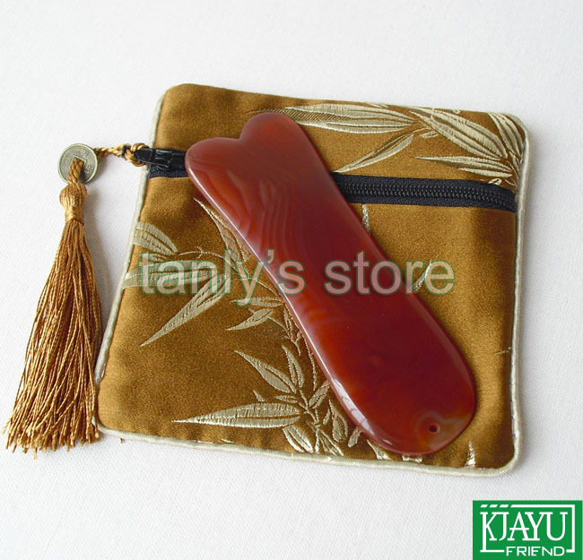 Good quality! Wholesale & Retail beauty face Massage Guasha Board Natural Agate Stone (fish shape) good quality wholesale