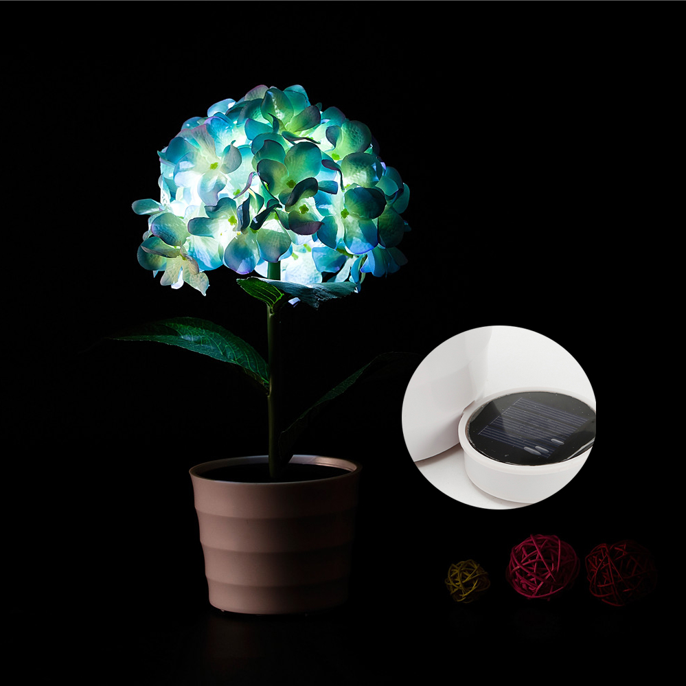 2017 New Solar Powered Led Light Hydrangea Flower Lamp For