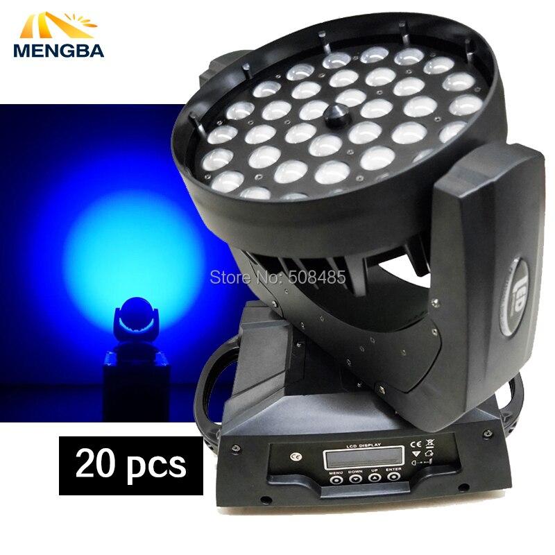 20 шт./лот 36x18 Вт RGBWA + УФ Цвет DMX светодиодный перемещение головы светодиодный Увеличить Wash свет хорошее для DJ