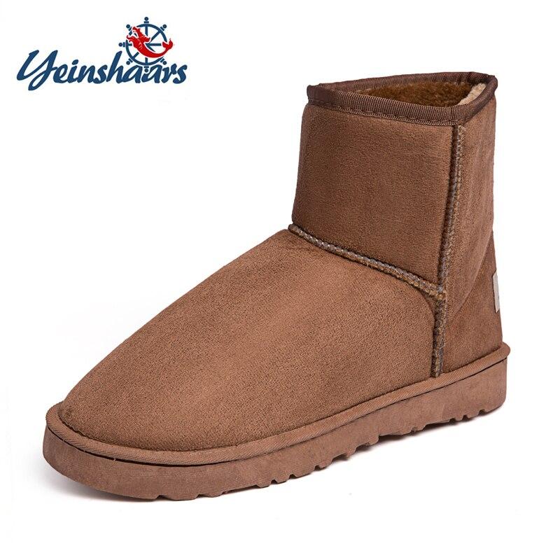 Yeinshaars Größe 35-45 Männer Stiefeletten Hohe Qualität Wildleder Winter Warme Mode Schnee Stiefel Slip Auf Pelz Plüsch Einlegesohle Outdoor Stiefel