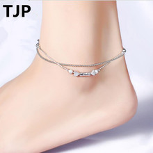TJP Fashion 925 Silver Anklets Jewelry For Women Party Top Quality Double Balls Heart Design Girl Female Bracelets Bijou