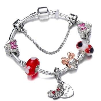 Cute Mickey Mouse Themed Bracelet Bracelets Jewelry New Arrivals Women Jewelry Metal Color: 22 Length: 21cm