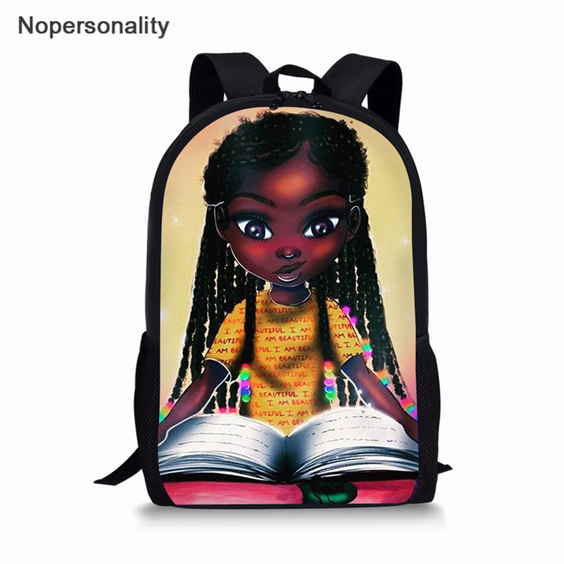 Nopersonality Art African Black Girl Prints African Tradition School Bags For Girls Primary Schoolbags Kids Backpack Girls