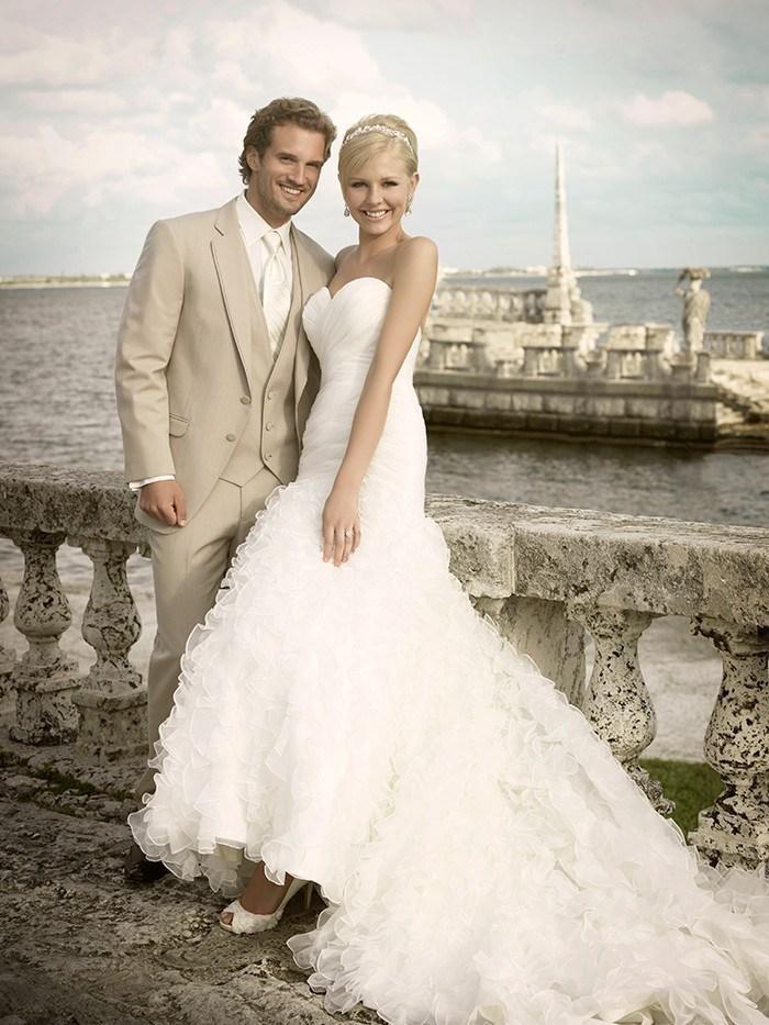 Groom Tuxedos Pant Vest Wedding-Suits Ivory-Jacket Peak Two-Button Custom-Made Tie Lapel