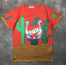 VanMe New Novelty 2017 Men LOVE Cactus Flower T Shirts T-Shirt Hip Hop Skateboard Street Cotton T-Shirts Tee Top kenye #661