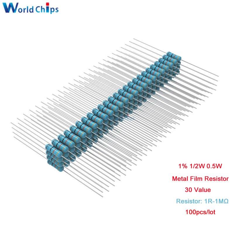100 unids/lote 1R-1MΩ resistencia de película de carbono 5% 1/2W 0,5 W 1R 10R 100R 220R 1K 2,2 K 4,7 K 10K 22K 47K 100K 470K 1MΩ Ohm resistencia