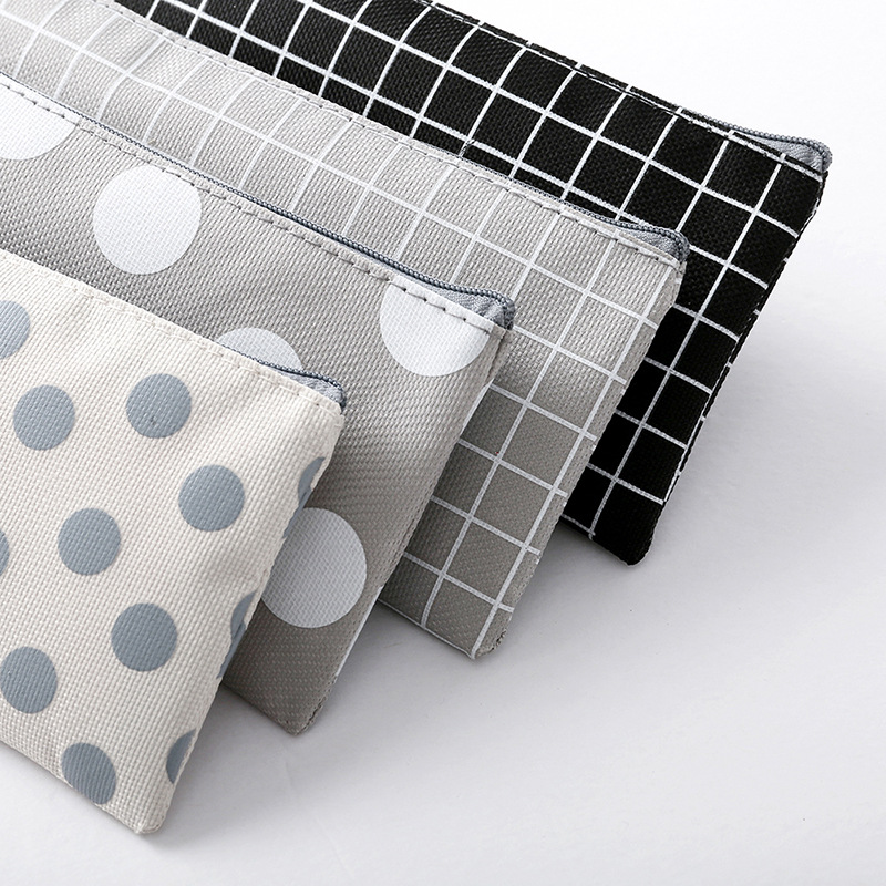Pencil Bag Case Grid Dot Canvas Stationery Storage Simple Organizer  5