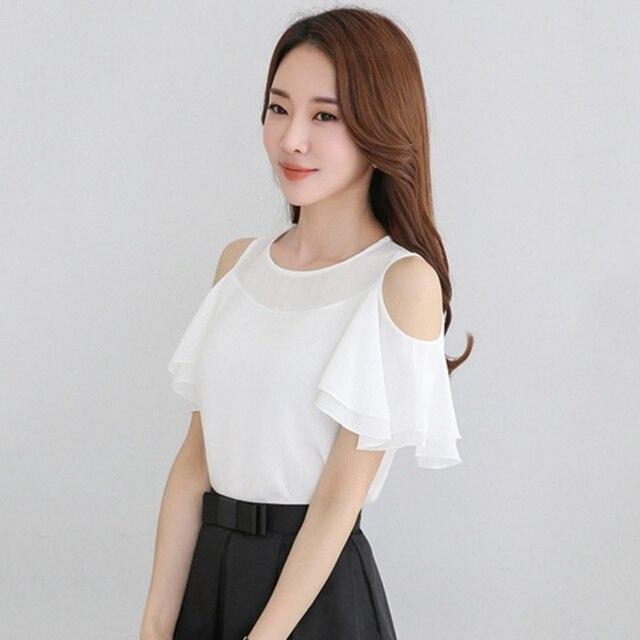 367e32a0c57 Новинка 2017 г. женские белые шифоновые блузки лето Повседневное с  открытыми плечами присборенная ткань рубашки