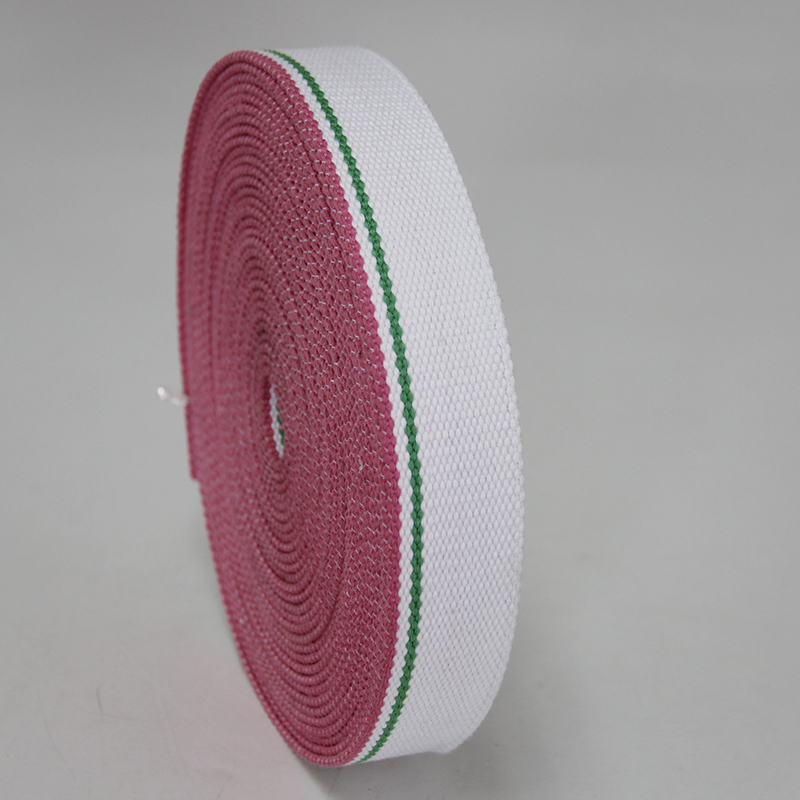 high quality thick 3mm 38mm wide cotton webbing belt white/green/pink color liman ribbon factory for sale bead weaving hot sale