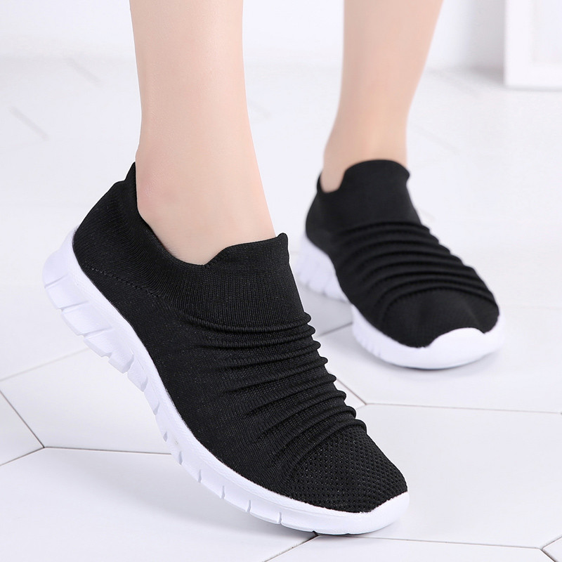 df257af74 PINSEN Sneakers Women Flats Shoes Summer Breathable Flying Weaving Casual  Shoes Woman Slip on creepers moccasins Ladies Shoes-in Women's Flats from  Shoes