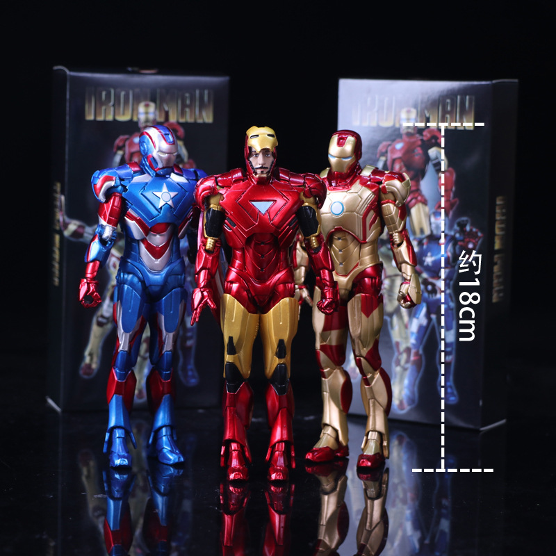 18cm The Avengers Super Heros Iron Man Doll Toy IronMan Joint Movable Action&Figures Toy For kids Boy Christmas Gifts With box hot toy 16cm avengers 2 thor loki villain heros action figure collectible pvc model toy movable joints doll for kids gifts
