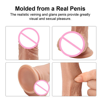 4 Size Flesh Realistic Dildo for Women TPE Eco-friendly Penis with Suction Cup Adult Sex Vibrator Toys Anal Pussy Pump 6