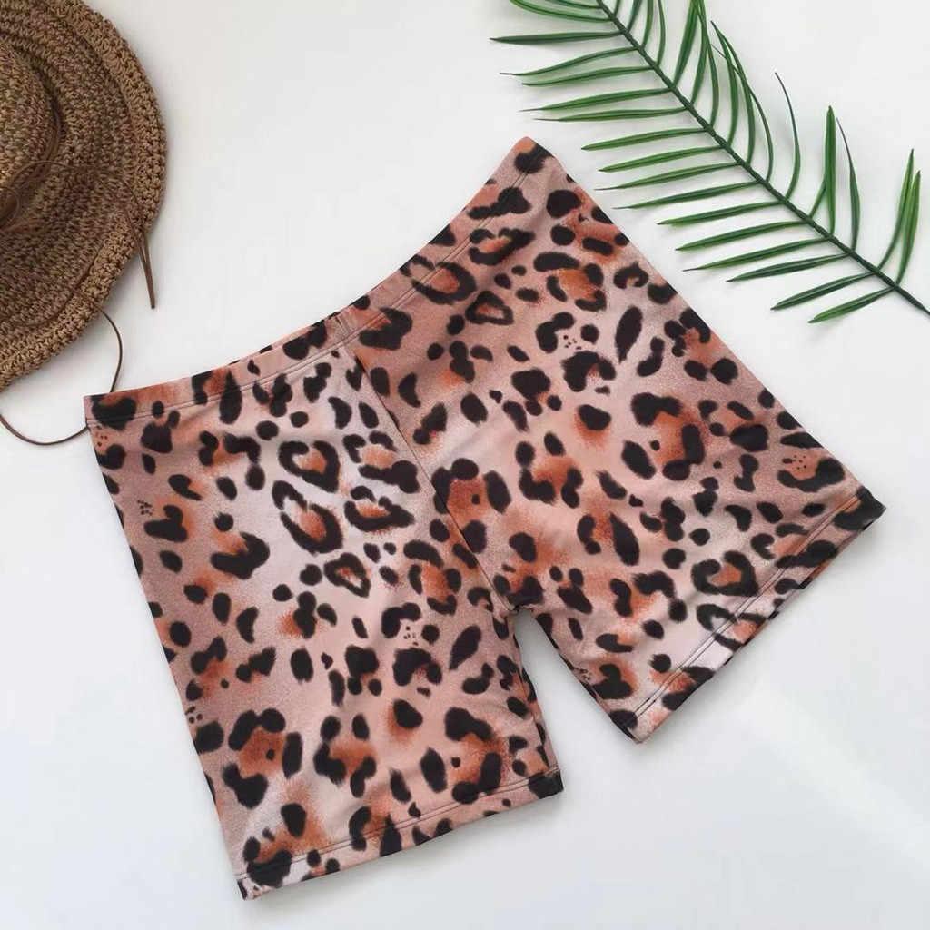 Las mujeres de moda estampado de leopardo Sexy traje de baño siameses ropa traje de pantalones de baño traje de playa