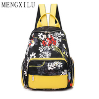 MENGXILU Fashion Women Backpacks Oxford Bohemian Animal Flower Printing Travel Shoulder Bag Casual Tote Lady Girls Sport Bag Sac
