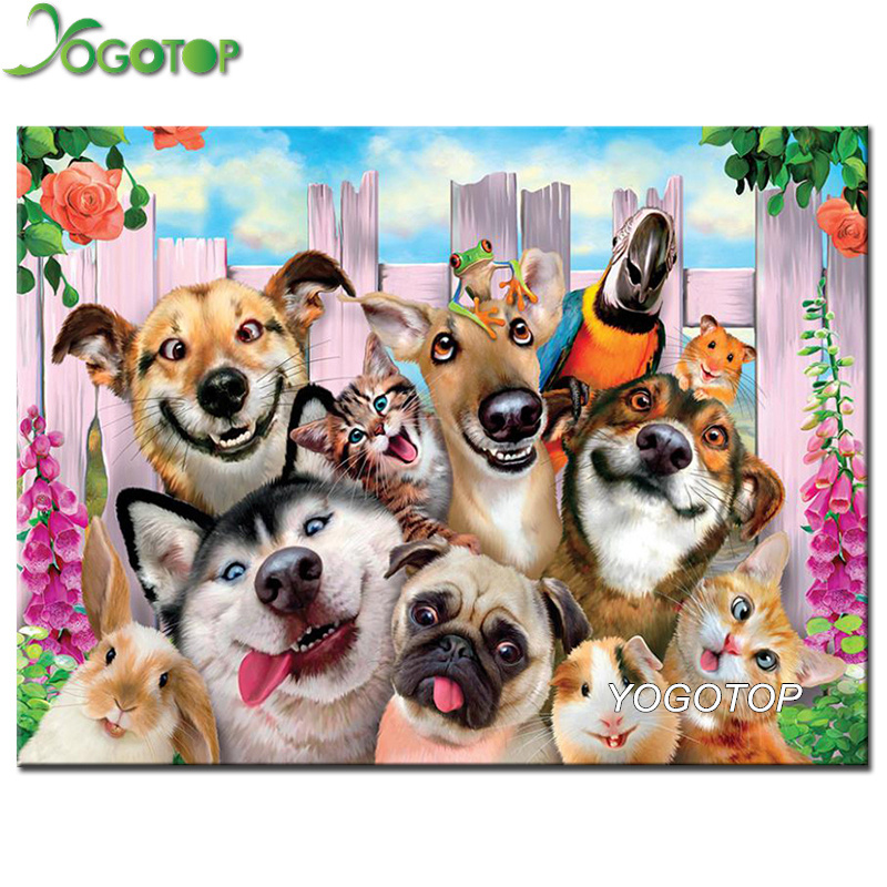 YOGOTOP Diamond Embroidery dog family Diy Diamond Painting cross stitch Square Diamond Mosaic Home Decoration Paintings CV316