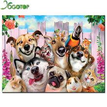YOGOTOP Diamond Embroidery  dog family Diy Painting cross stitch Square Mosaic Home Decoration Paintings CV316