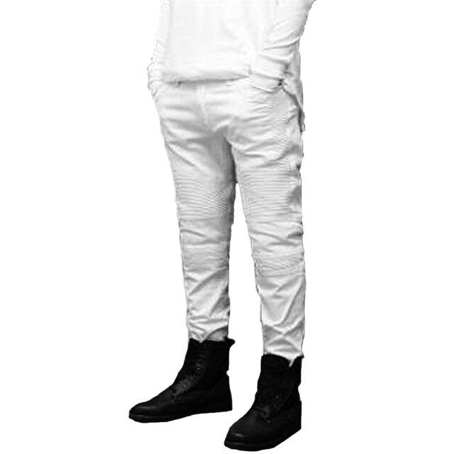 Delgado moda 2017 hip famosa hop hombre Pantalones para Vaqueros Vaqueros doblado flaco blanco elástico marca Hqq4rOd