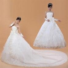 Сделанные на заказ свадебные платья с бантом и шлейфом, белые дешевые платья без бретелек для невесты, платья со шлейфом, Vestidos De Novia XN035