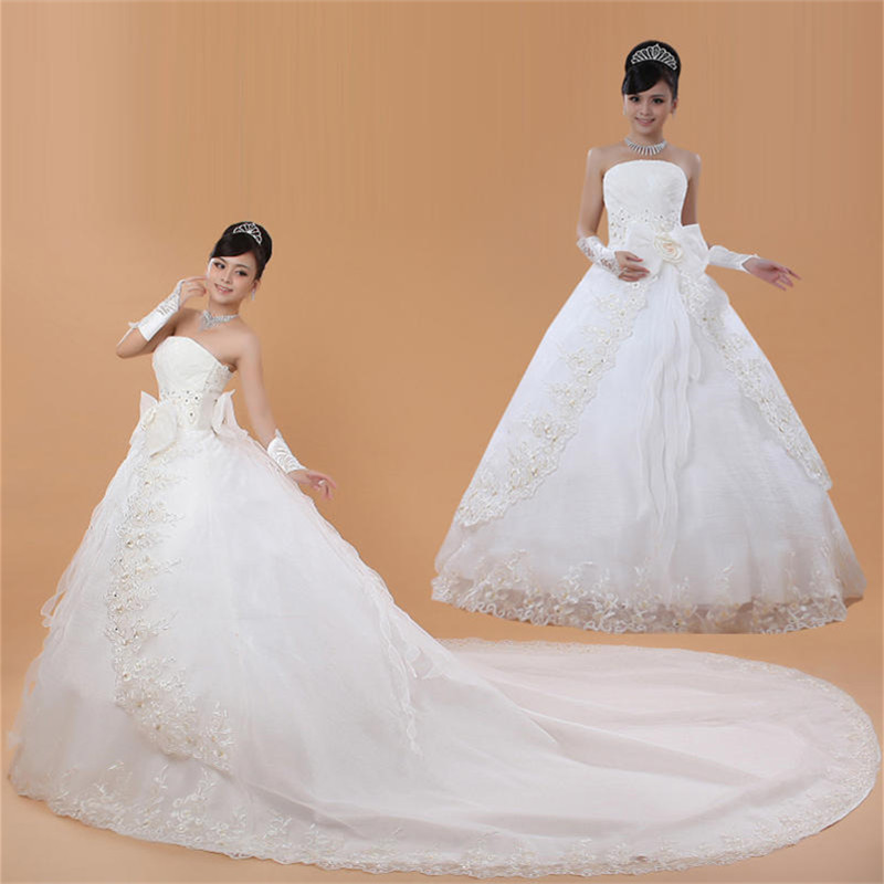 Free Shipping Custom Made Bow Train Wedding Dresses White Cheap Strapless Bride Frocks Trailing Gowns Vestidos De Novia XN035