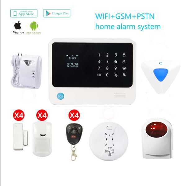 433mhz G90B plus Security Wireless wifi GSM Alarm System APP control Wireless Strobe Siren /Smoke Detector /Gas Detector sensor