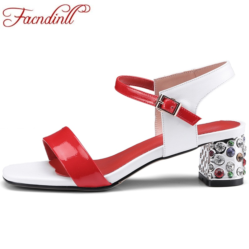 FACNDINLL new summer genuine leather women sandals rhinestone middle heel open toe shoes ladies casual date party woman shoes facndinll new women summer sandals 2018 ladies summer wedges high heel fashion casual leather sandals platform date party shoes