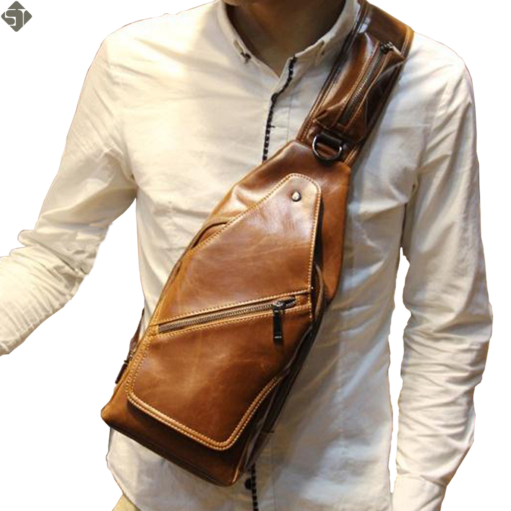 new Fashion Vintage Men Messenger Bags Chest pack Travel Male leather Casual Chest Small Retro Military Shoulder Bag augur fashion men s shoulder bag canvas leather belt vintage military male small messenger bag casual travel crossbody bags
