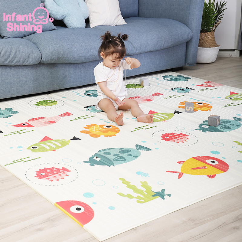 Infant Shining 180X200CM/71X79IN Baby Folding Play Mat Kids Rug Carpet 1CM Thickness Baby Game Mat Indoor Soft Floor Mats