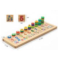 Montessori Regenbogen Ringe Dominos-karte Kinder Vorschule Lehrmittel Zählen und Stapeln Brett Aus Holz Mathematik Spielzeug Für Kinder