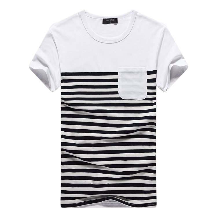 Summer style Pocket Fashion Design Black and white striped T ...