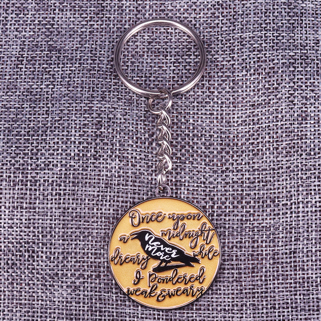 US $3 9 |The Raven Enamel Keyring Edgar Allan Poe Gothic Literature  Collection Book Lover Nevermore Halloween Keychain-in Brooches from Jewelry  &