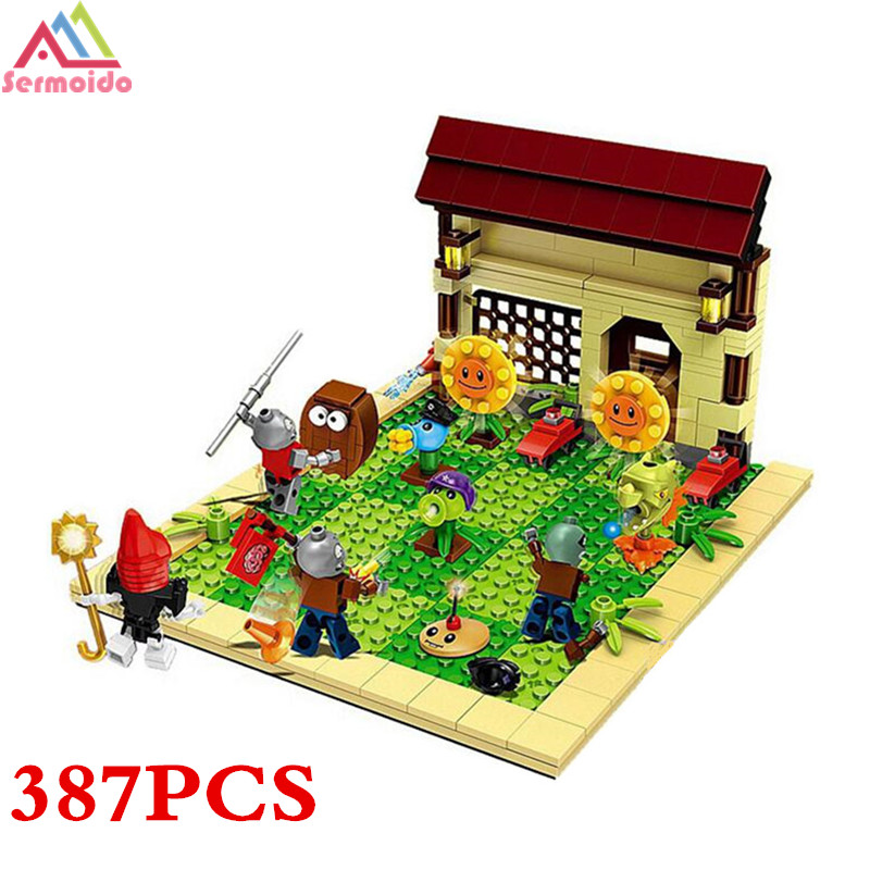 SERMOIDO Plants Vs Zombies Garden Maze Struck Game Building Bricks Blocks Anime Figures Minecraft Toys For Children Gift B291 52pcs set plants vs zombies pvz collection figures toy all the plants and zombies figure toys free shipping