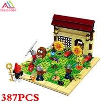 SERMOIDO Plants Vs Zombies Garden Maze Struck Game Building Bricks Blocks Anime Figures Minecraft Toys For Children Gift B291