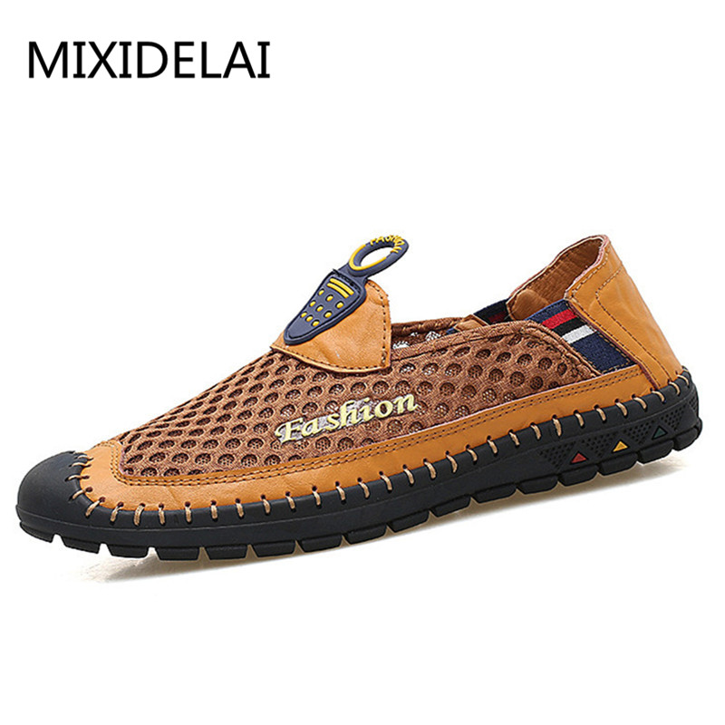 Breathable Handmade Sewing Shoes Men Breathable Slip On Mesh Shoes Casual Driving Shoes Loafers For Men masculino sapato mycolen fashion classic casual shoes for men driving shoes leather loafers breathable boat shoes men sapato casual masculino