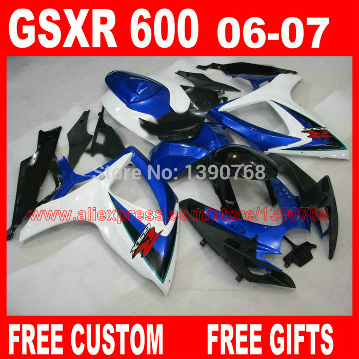 Motorcycle parts for SUZ UKI fairings GSXR600 GSXR 750 06 07 blue black white ABS fairing kit 2006 2007 gsxr600 gsxr750 K6 BH93 aftermarket free shipping motorcycle parts eliminator tidy tail for 2006 2007 2008 fz6 fazer 2007 2008b lack